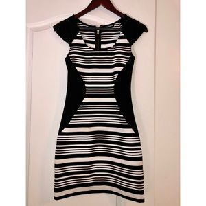 Express Black & White Bodycon Sheath Dress
